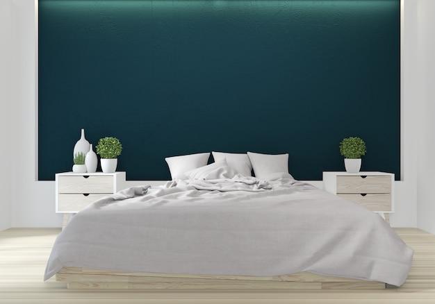 Cama quarto cor verde japonês design de interiores