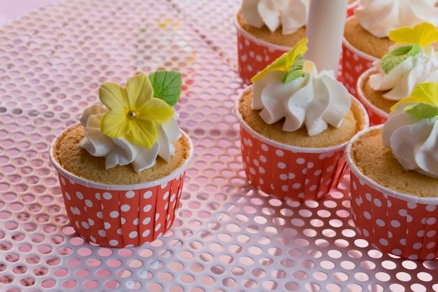 Camada de cupcakes gostoso bonito e colorido