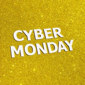 Camada plana de glitter dourado para cyber segunda-feira