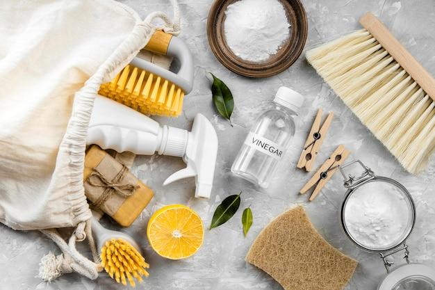 Camada plana de produtos de limpeza ecológicos com escovas