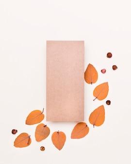 Camada plana de variedade de folhas de outono com papel