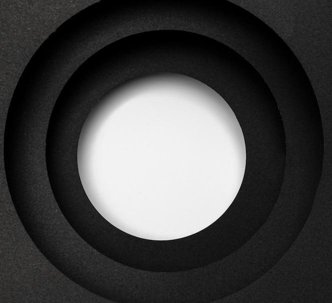 Camadas de fundo preto circular e círculo branco