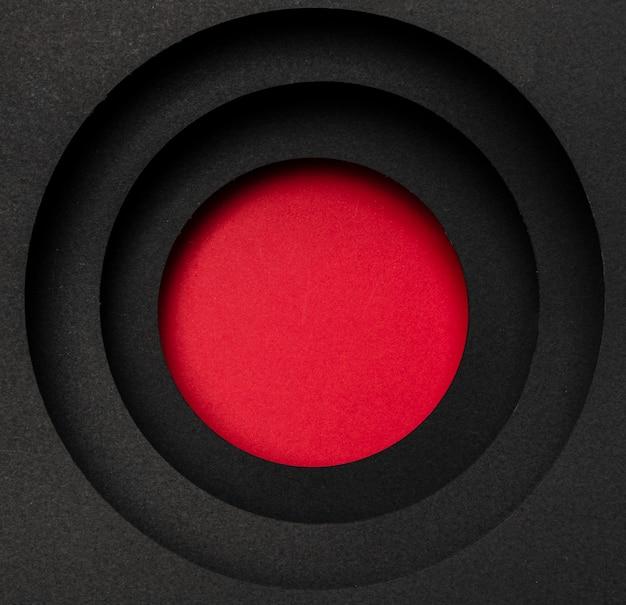 Camadas de fundo preto circular e círculo vermelho