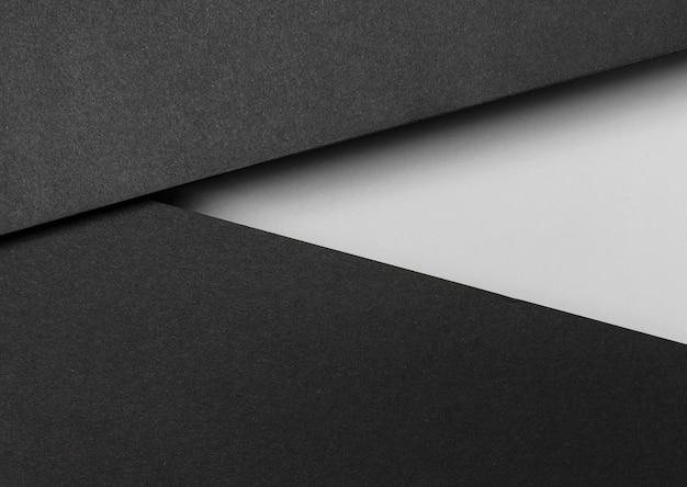 Camadas de papel preto e branco vista superior