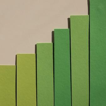 Camadas de papel verde gradiente abstratas minimalistas