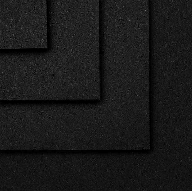 Camadas de quadrados pretos fundo vista superior