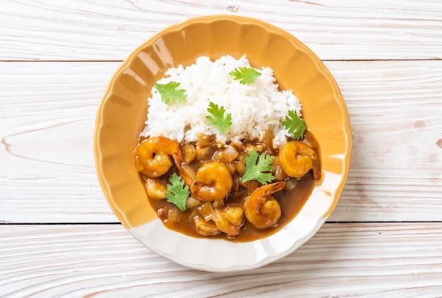Camarão ao molho de caril com arroz