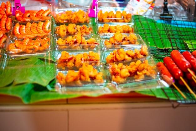 Camarão e frutos do mar no mercado