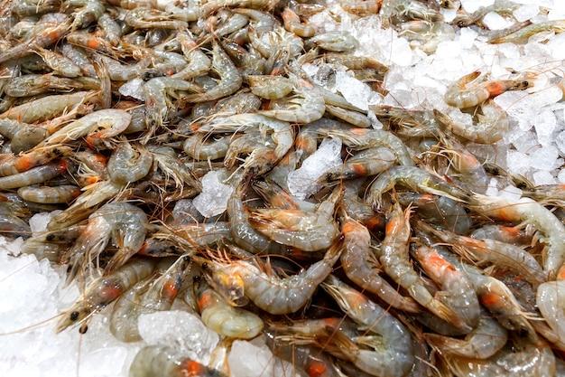 Camarões crus, camarões com casca inteira, no gelo são vendidos no mercado de peixes.