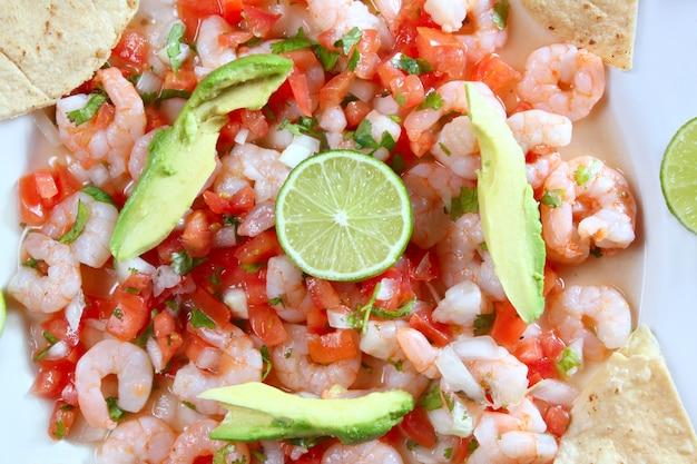 Camaron, camarão, ceviche, cru, salada marisco, méxico
