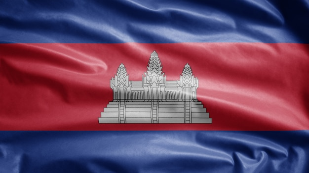 Cambojano agitando bandeira ao vento