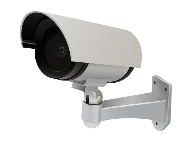 Câmera cctv com formato de tubo e tampa que cobre a lente para proteção da lente