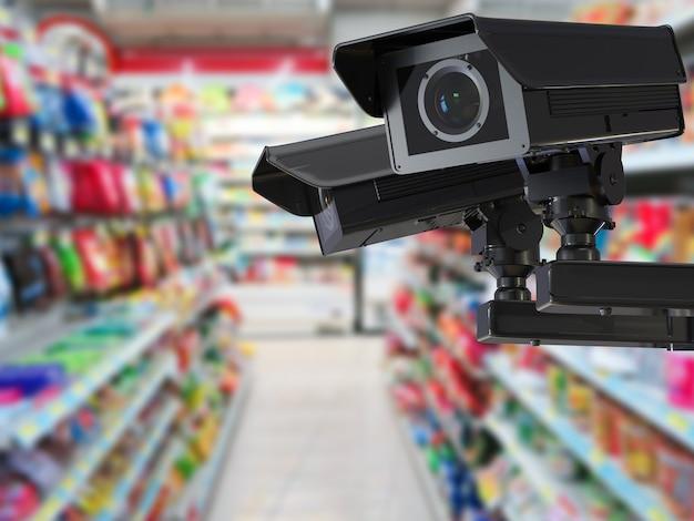 Câmera cctv de renderização 3d ou câmera de segurança em loja de varejo com fundo desfocado