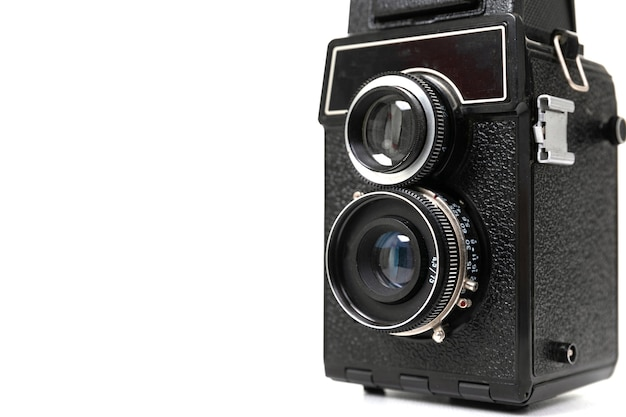 Câmera com duas lentes modelo vintage