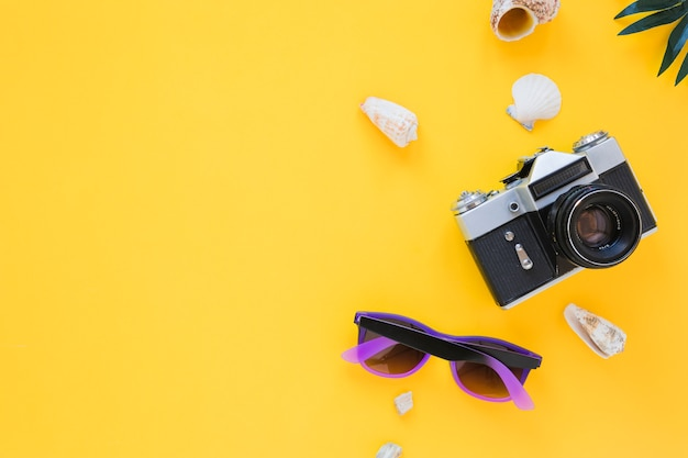 Câmera com óculos escuros e conchas