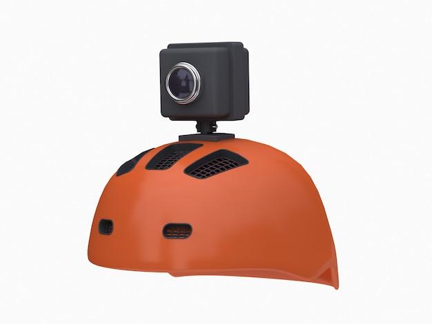 Câmera de ação 3d no capacete laranja branco