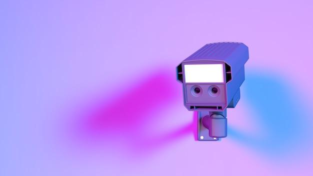 Câmera de cctv com iluminação neon roxa, ilustração 3d