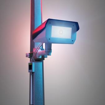 Câmera de cctv de segurança de rua isolada na renderização em 3d