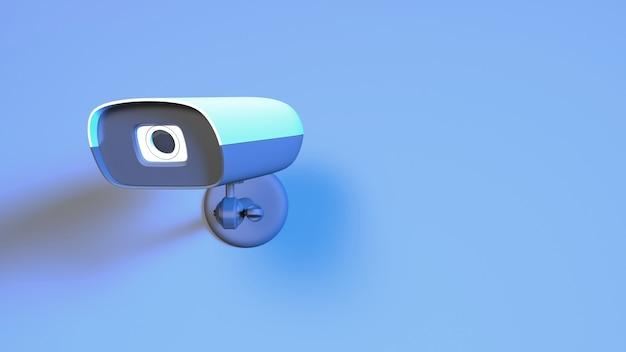 Câmera de cctv em close-up com iluminação de néon azul, ilustração 3d