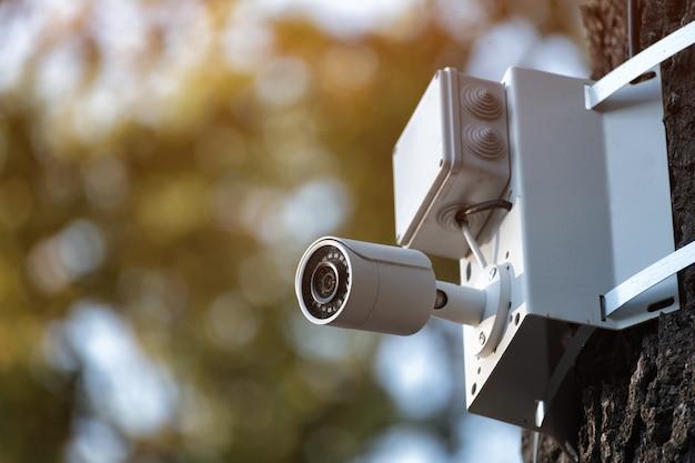 Câmera de cftv branca. câmera de vídeo de vigilância de segurança ip impermeável ao ar livre.
