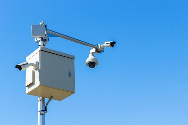 Câmera de cftv no céu câmera de infravermelho e sistema de rastreamento de zoom