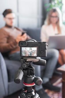 Câmera de close-up para jornalismo
