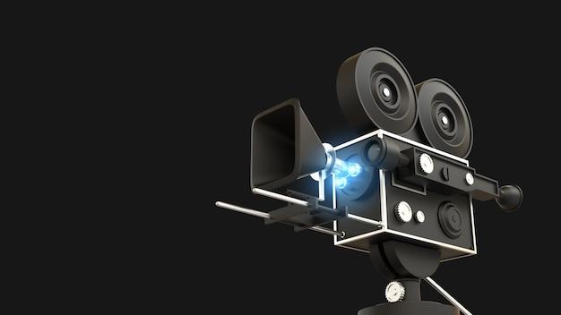 Câmera de filme com fundo preto ilustração 3d