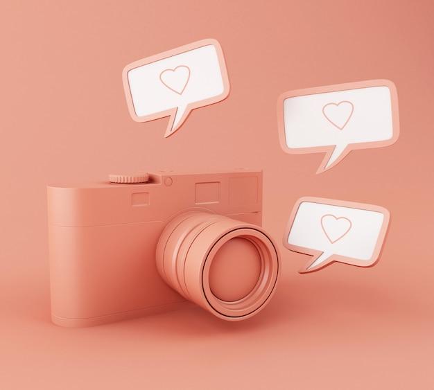 Câmera de foto 3d com pino de coração como