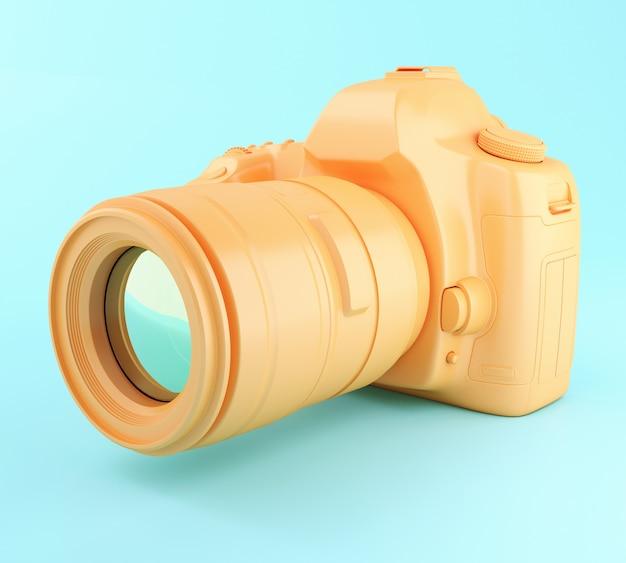 Câmera de foto 3d digital laranja.