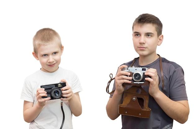 Câmera de fotógrafo de menino