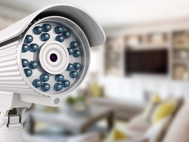 Câmera de segurança 3d com sala turva