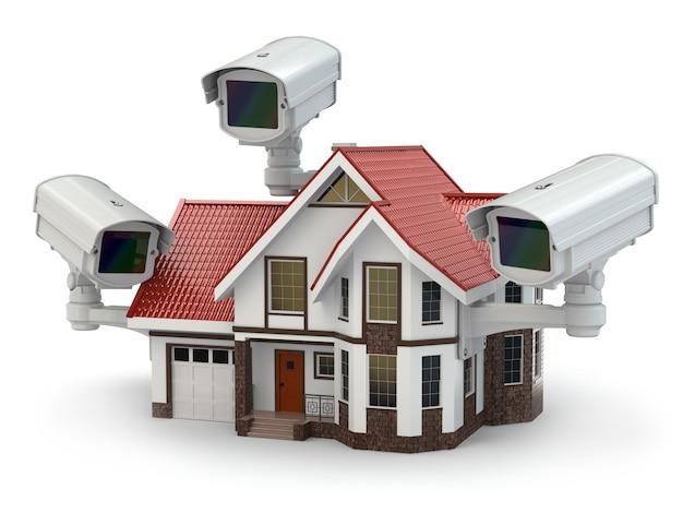 Câmera de segurança cctv na casa 3d