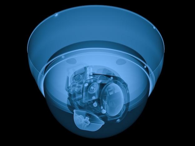 Câmera de segurança de raio x de renderização em 3d ou câmera cctv isolada no preto