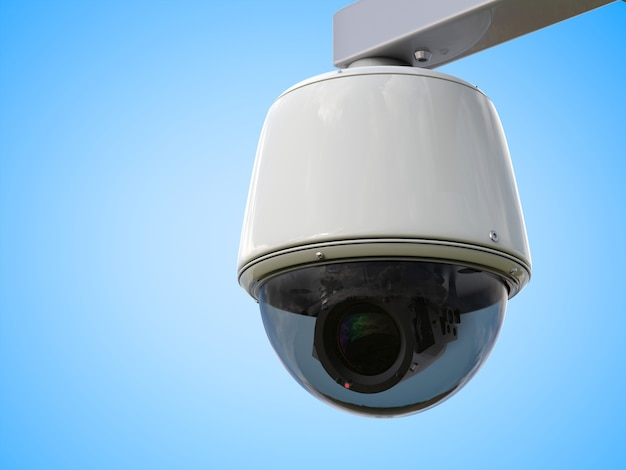 Câmera de segurança de renderização 3d ou câmera cctv em fundo azul