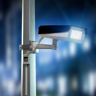 Câmera de segurança de rua cctv filmando uma cidade de noite - renderização 3d