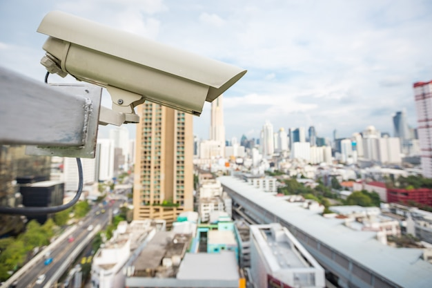 Câmera de segurança e vídeo urbano (cctv) na construção