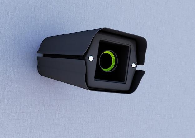 Câmera de segurança fixando a renderização 3d da parede