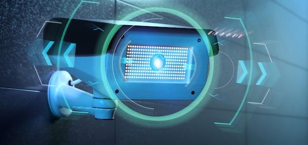 Câmera de segurança visando uma intrusão detectada - renderização em 3d