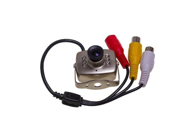 Câmera de vigilância de segurança interna com luz de fundo led de visão noturna isolada no fundo branco