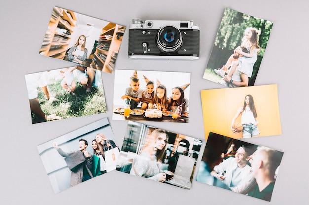 Câmera de visão superior com fotos