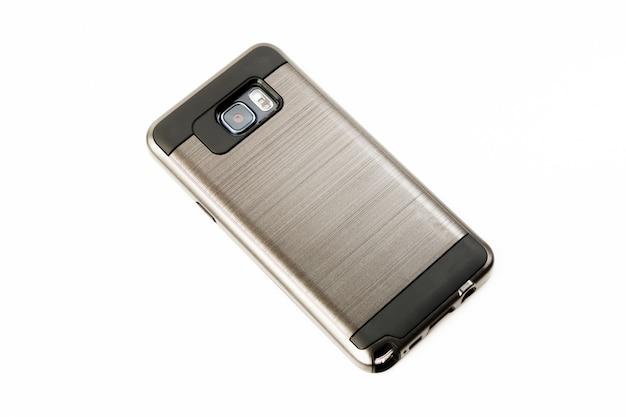 Câmera digital celular. close up da lente da câmera de smartphone no fundo branco isolado