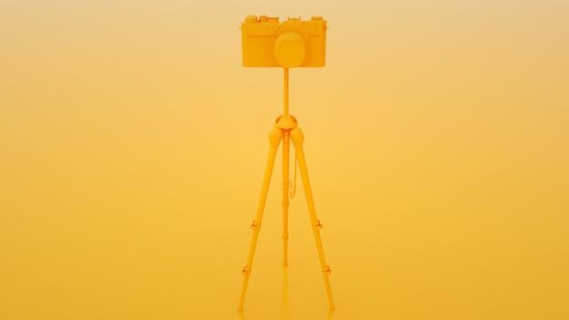 Câmera e tripé em fundo amarelo