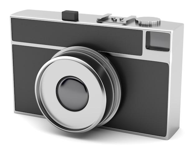 Câmera fotográfica com estilo retrô, isolada no fundo branco
