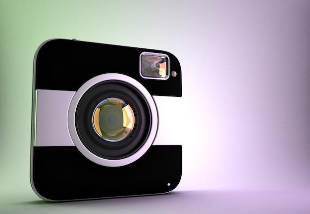 Câmera fotográfica digital quadrada. ilustração 3d