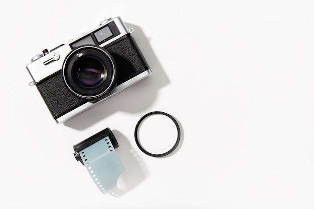 Câmera fotográfica vintage. câmera de filme rangefinder. vista do topo