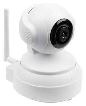 Câmera ip wi-fi sem fio branca em um fundo branco