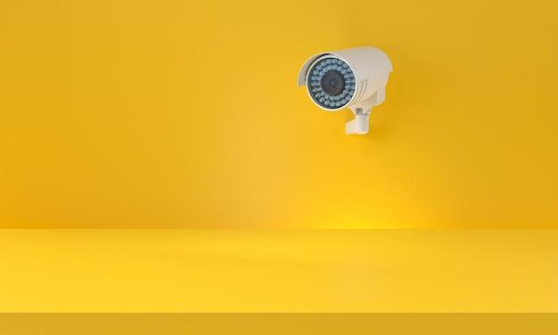 Câmera moderna do cctv em uma parede amarela. fundo mínimo. seguro, protege o conceito. renderização 3d