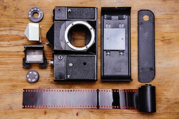 Câmera rangefinder desmontada