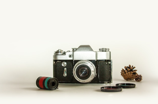 Câmera retro com lente