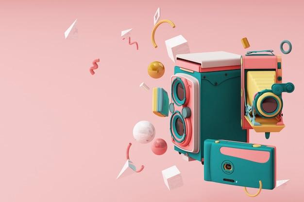 Câmera vintage colorida circundante pelo padrão de memphis
